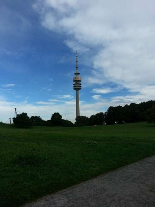 Olympia Tower Munich Olympic Park Tower Clouds