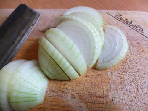 Onion Onion Rings Knife Cut Board Kitchen Cook