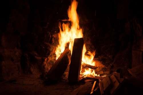 Open Fire Fire Wood Burn Blaze Flame Fireplace