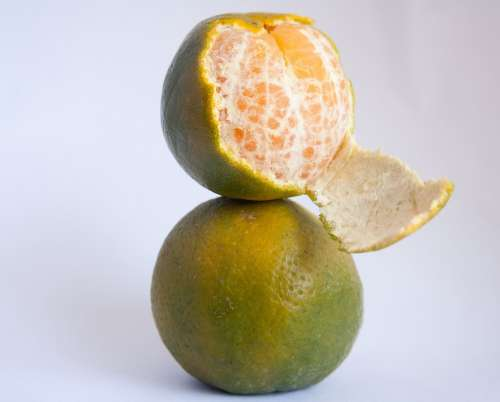 Orange Peeled Citrus Fruits Green Sweet Fresh