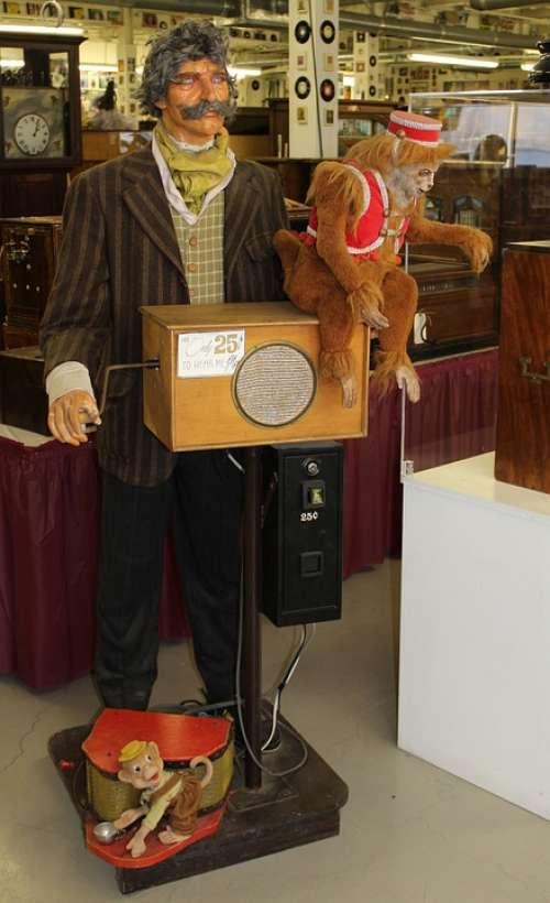 Organ Grinder Automaton Mechanical Vending Monkey