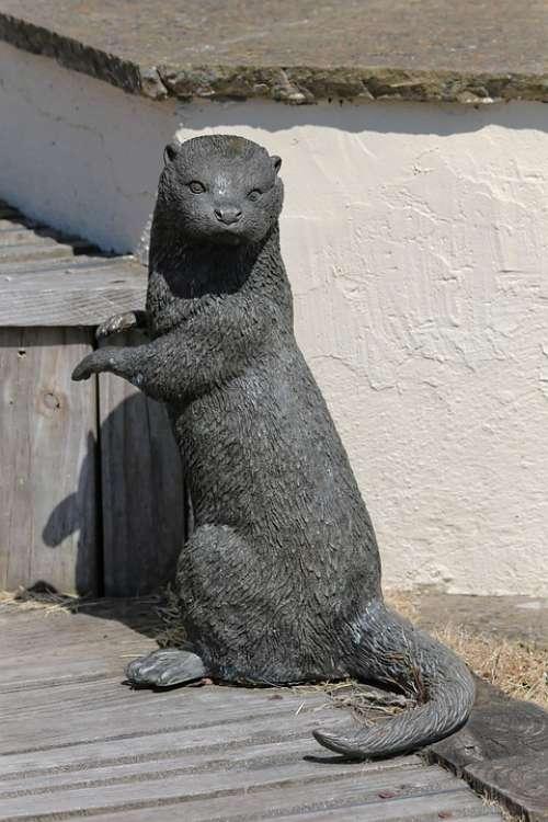 Otter Animal Mammal River Bronze Statue Creature