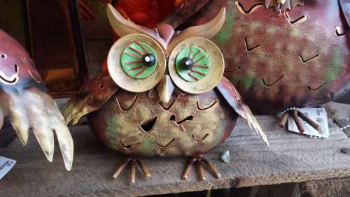Owl Eagle Owl Deco Metal Art Figure
