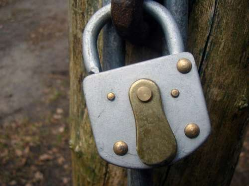 Padlock Castle Closed Metal Backed Up To