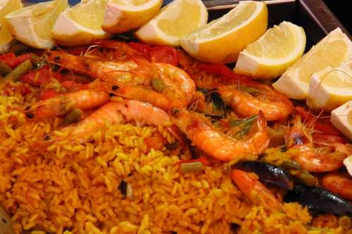 Paella Rice Scampi Lemons Spain National Dish Eat