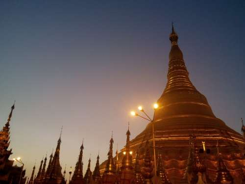 Pagoda Shwedagon Burma Sunset Buddhism Building
