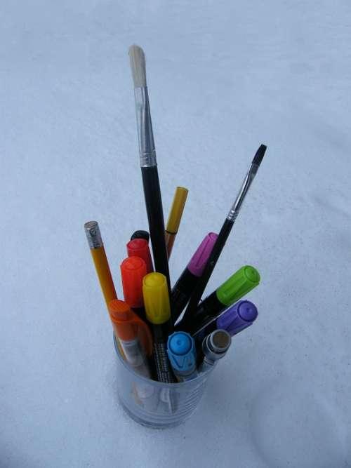 Paint Colored Pencils Brush Office Pens Colorful
