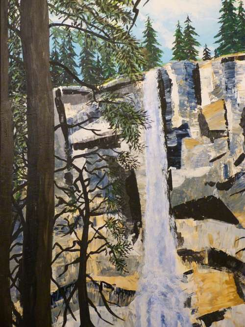 Painting Art Painted Acrylic Paints Waterfall