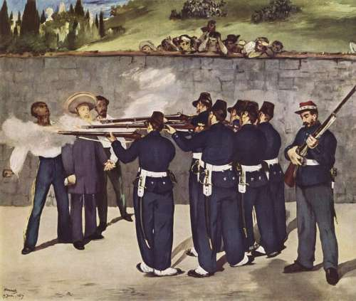 Painting Execution Firing Emperor Mexico 1867