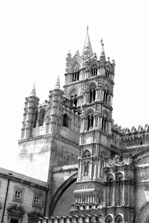Palermo Monochrome Black And White Cathedral Church
