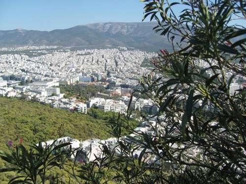Panorama Athens Greece Horizon Summer Capital