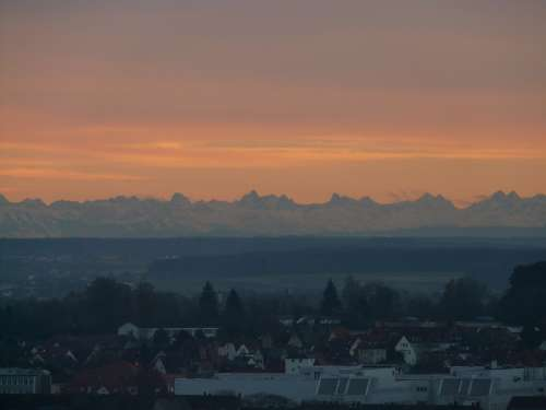 Panorama Alpine Morgenstimmung Sunrise Mountains