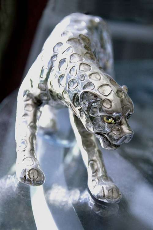Panther Decoration Silvery Silberig