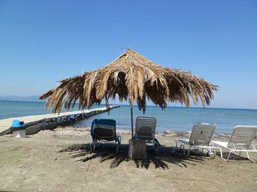 Parasol Beach Chair Beach Sea Corfu