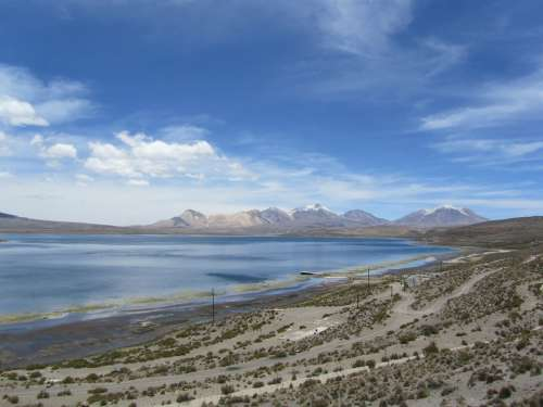 Parincota Chile Lake Clouds Sky Kahl Blue Nature