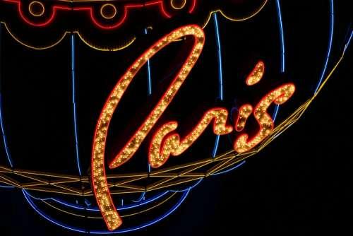 Paris Neon Luminous Illuminated Advertising Night