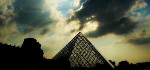 Paris Pyramid Louvre Glass Pyramid Darkness