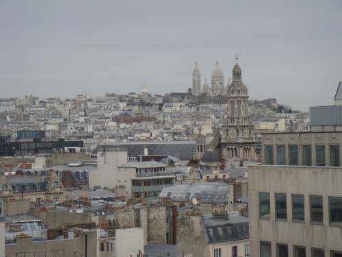 Paris Cityscape Sacre Coeur Bird Flight Overview