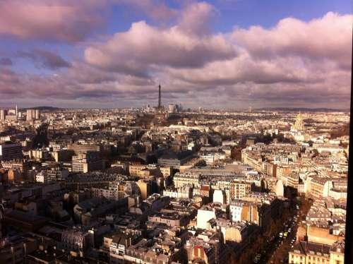 Paris Eiffel Tower Montparnasse Clouds Aerial View