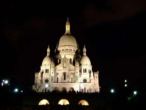 Paris France Night Evening Basilique Du Sacre Coeur