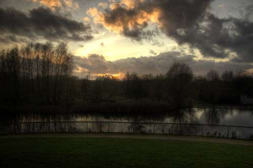 Park Sunset Grass Water Brook Green Clouds Air