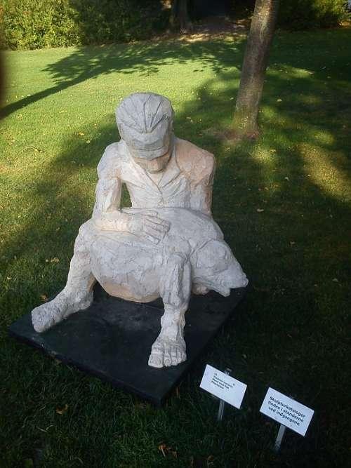 Park Man Fish Sculpture Statue Art