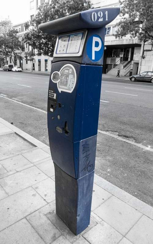 Parking Meter Street Asphalt Old Town