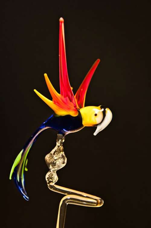 Parrot Glass Arts Crafts Glass Blower Turn
