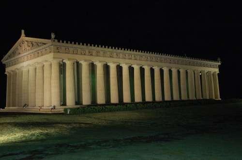 Parthenon Nashville Tennessee Night Column