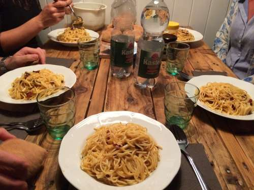 Pasta Lunch Food Hearty Group Together Sociable
