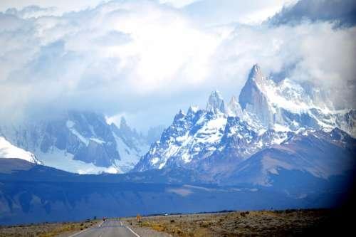 Patagonia Peaks Clouds Ice Snow Landscape Winter