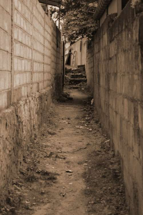 Path Way Alley Alleyway Gap Wall Sepia Narrow