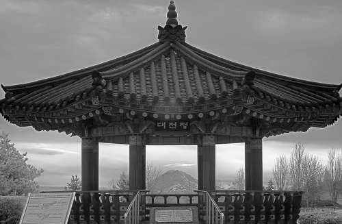 Pavilion Mount Rainier Seattle Monochrome