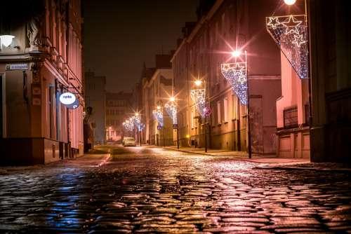 Paving Stones Street Illuminations Christmas Opole