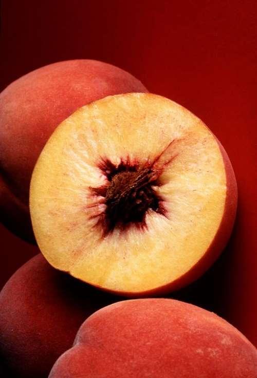 Peach Red Autumn Peaches Fruits Plants Flora