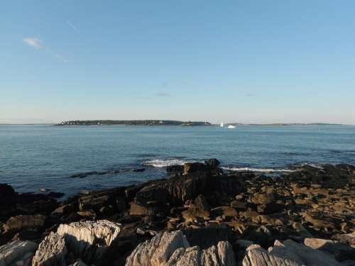 Peaks Island Summer Ocean Maine Rocks Blue Sky