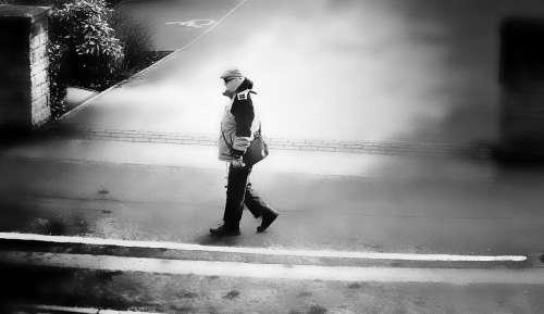 Pedestrian People Man Walk Path Destination Trip