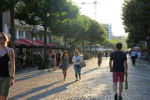 Pedestrian Zone Shopping City Summer Downtown