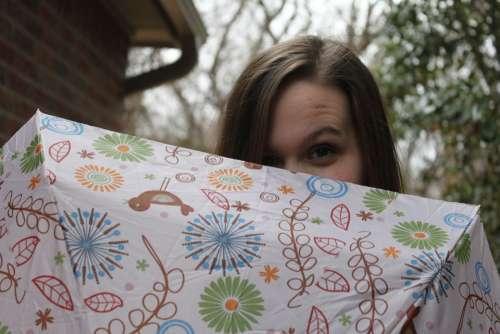 Peeking Umbrella Girl Cute Peek Hidden Hiding