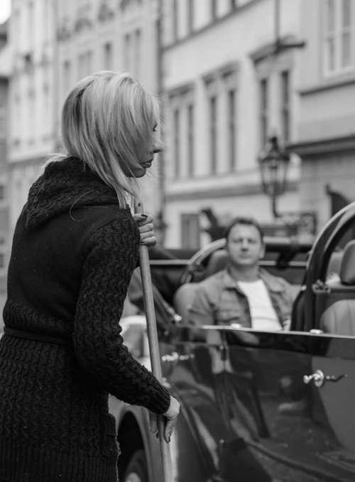 Pensive Woman Passenger Car Street Life City Man