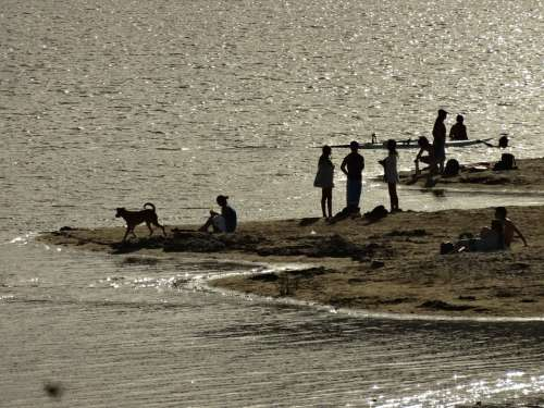 People Fishing Bathing Lake Argentina Nature