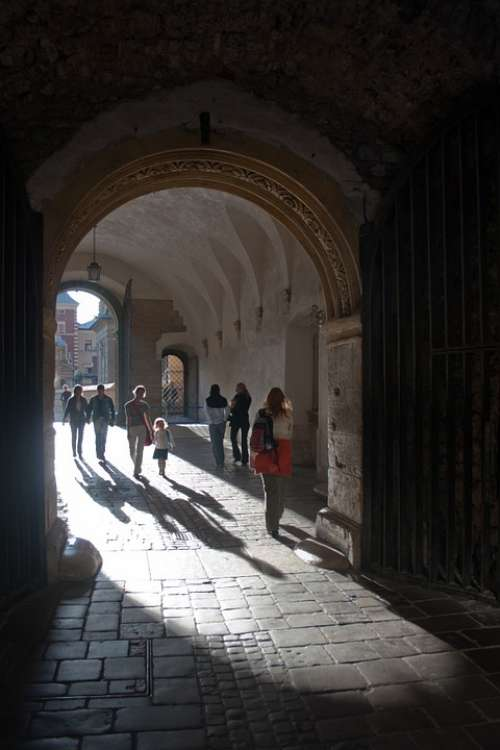 People Gated Cloister Archway Krakow Poland