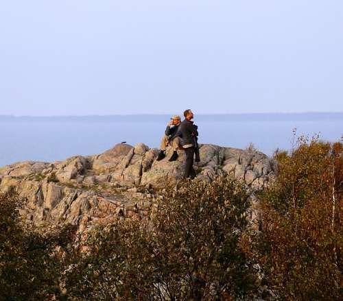 People Views Cliffs Kullaberg Sound