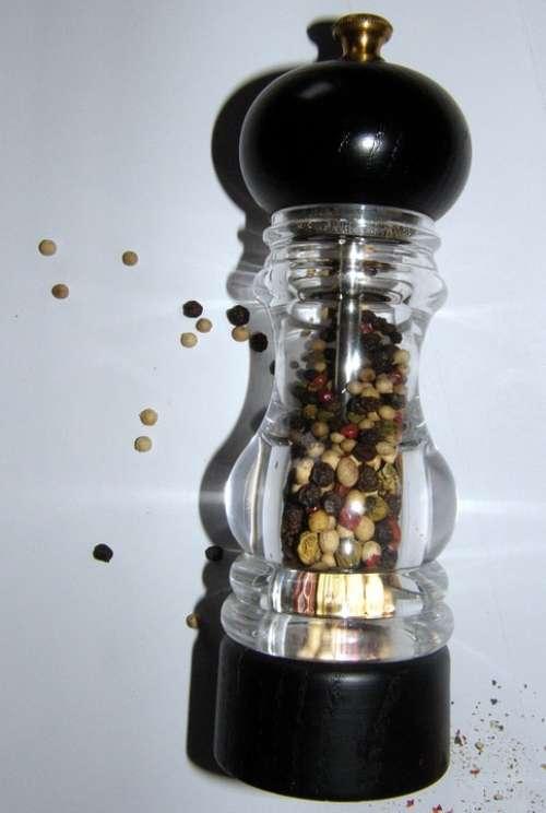 Pepper Mill Pepper Sharp Grains Spice Colorful