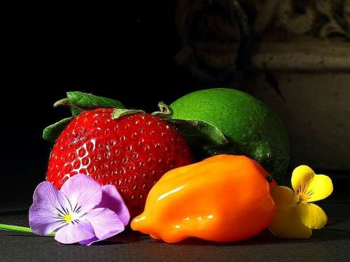 Peppers Limes Strawberries Srawberry Fruits Plants