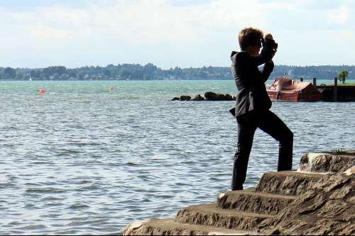 Person Man Photographer Alone Individually Bank