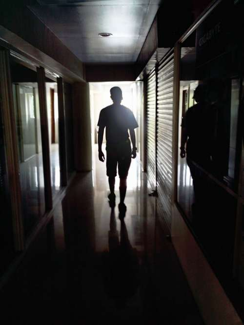 Person Walking Man Lonely Hallway Silhouette