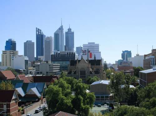 Perth City Seen From The East Skyline City Urban