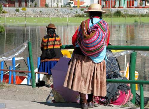Peru Lake Titicaca Puno Women Peruvian Inside Lake