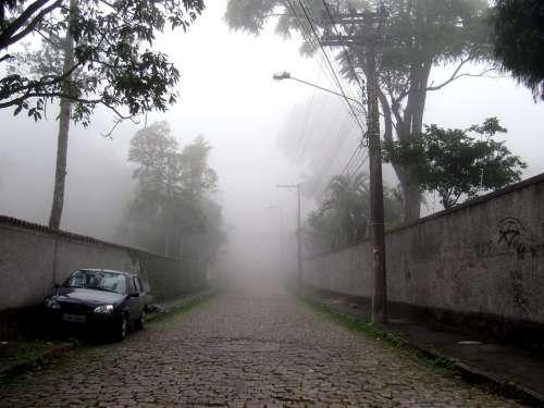 Petrópolis Fog Mountain Town Street Sawmill